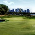 Liberty National Golf Course with the Manhatten skyline and Statue of Liberty in the background